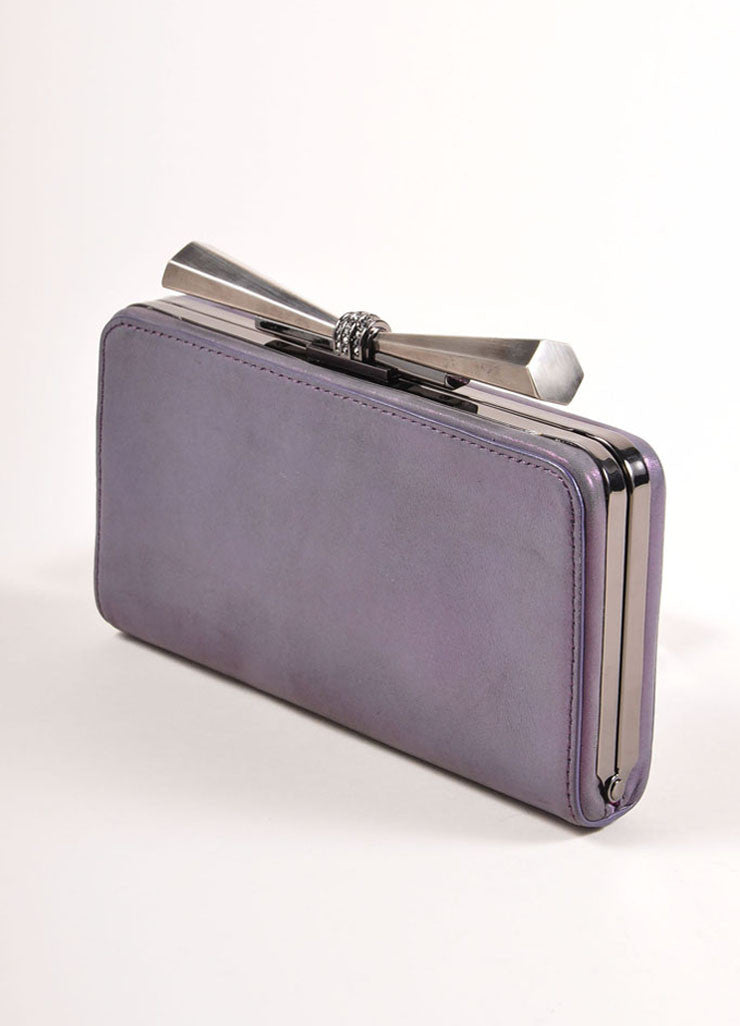 "Overture Judith Leiber Purple Metallic Bow Clasp ""Carrie"" Clutch Bag Sideview"