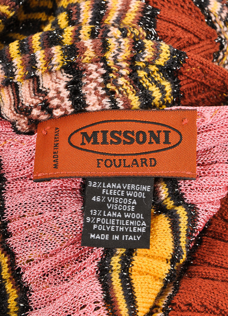Missoni Orange Label Multicolor Striped Open Knit Scarf Brand