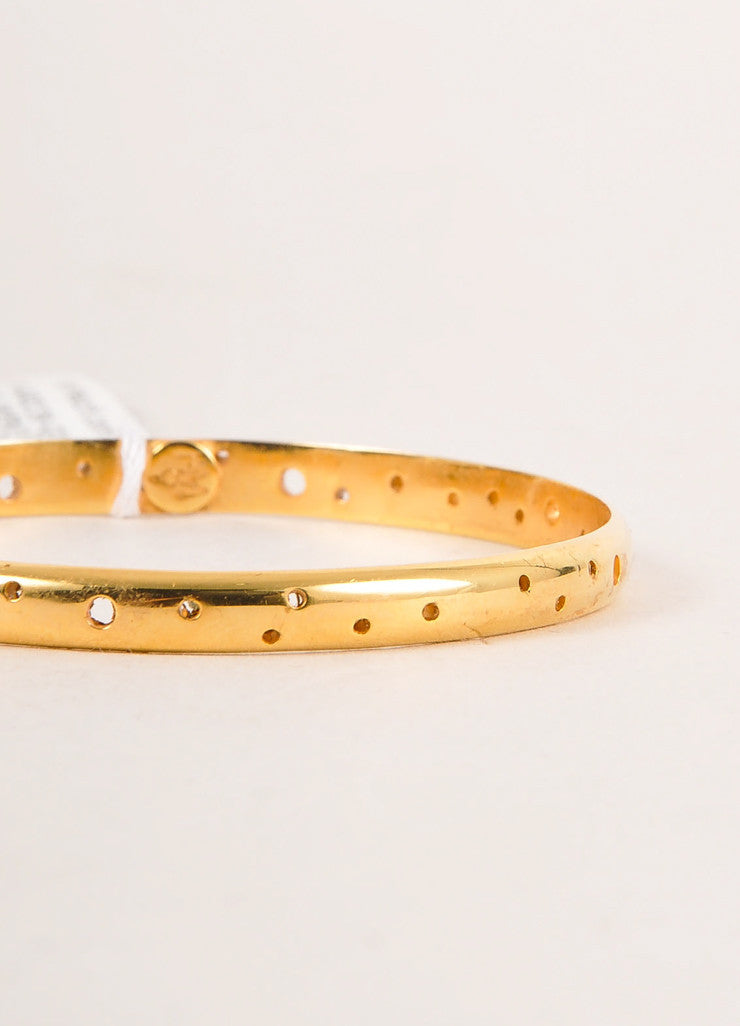 "Paula Mendoza New With Tags Gold Toned Perforated ""Isabella"" Bangle Bracelet Detail"