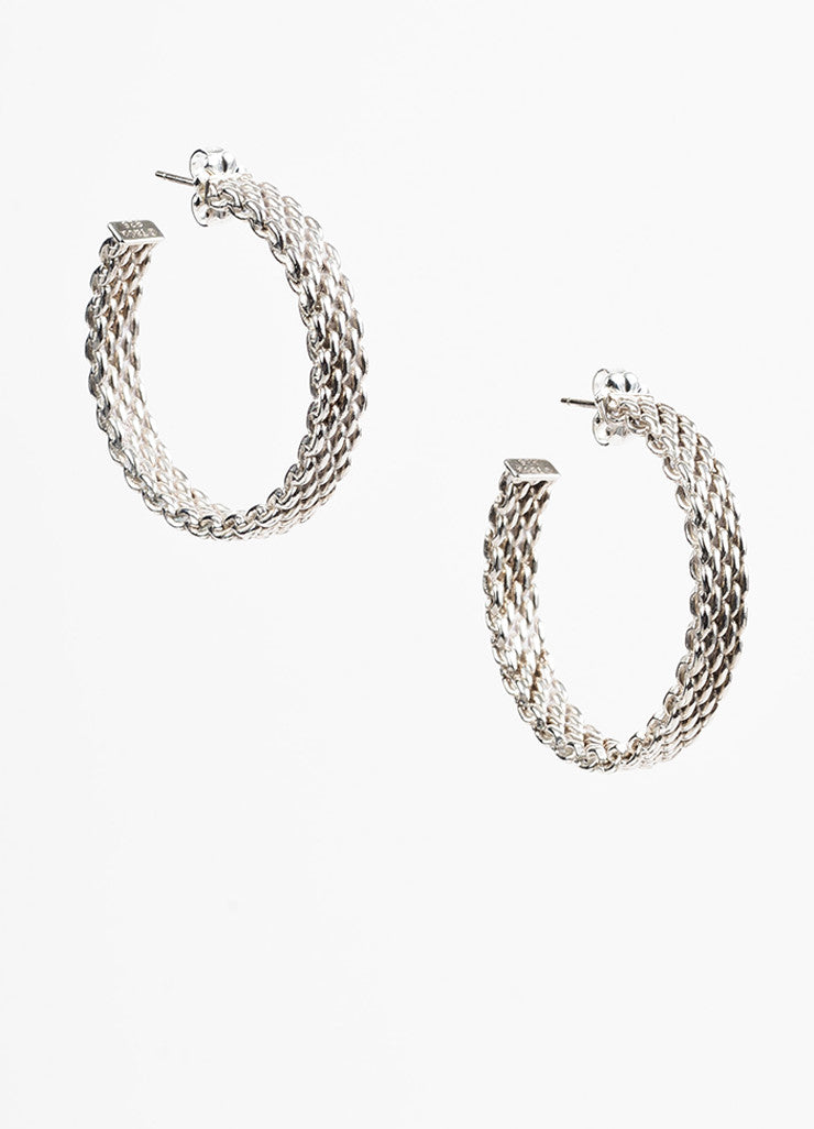 "Tiffany & Co. Sterling Silver Woven ""Somerset"" Hoop Earrings Frontview"