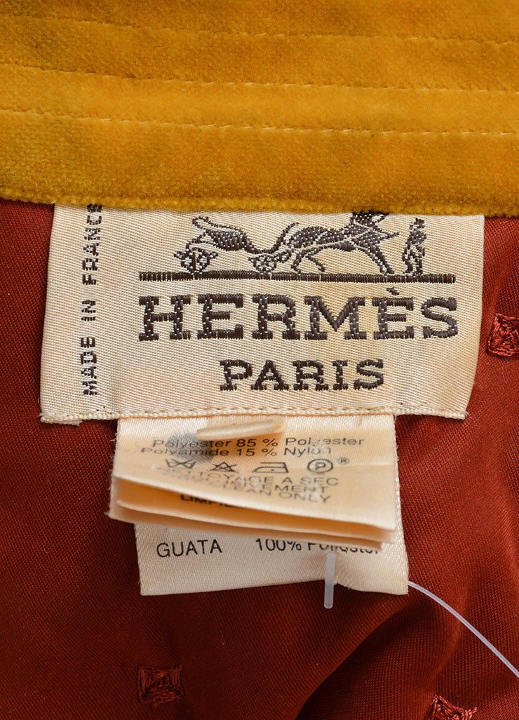 Hermes Dark Red and Yellow Velvet Collar Quilted Button Down Jacket Brand