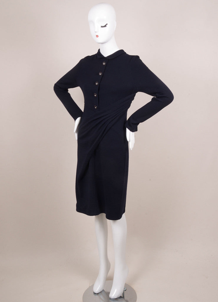 Chanel Navy Wool Blend Long Sleeve Elephant Button Draped Dress Sideview
