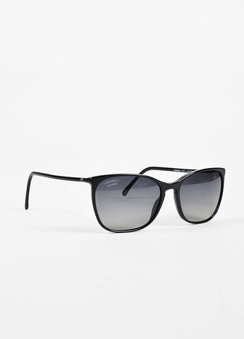 Chanel Black Framed Silver Toned 'CC' Polarized Sunglasses Sideview