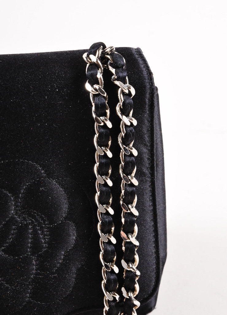 Chanel  Black Satin Camellia Chain Strap Mini Bag Detail 2