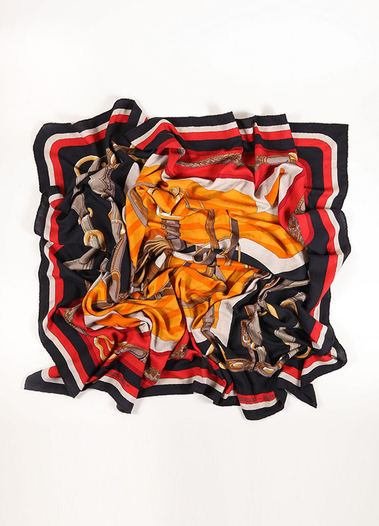 "Hermes Black, Red, and Orange Cashmere and Silk Harness Print ""Coaching"" Scarf Frontview"