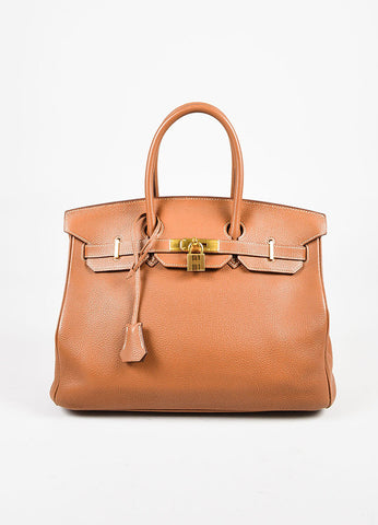 "Hermes ""Gold"" Brown Clemence Leather Top Handle ""Birkin 35"" Tote Bag Frontview"