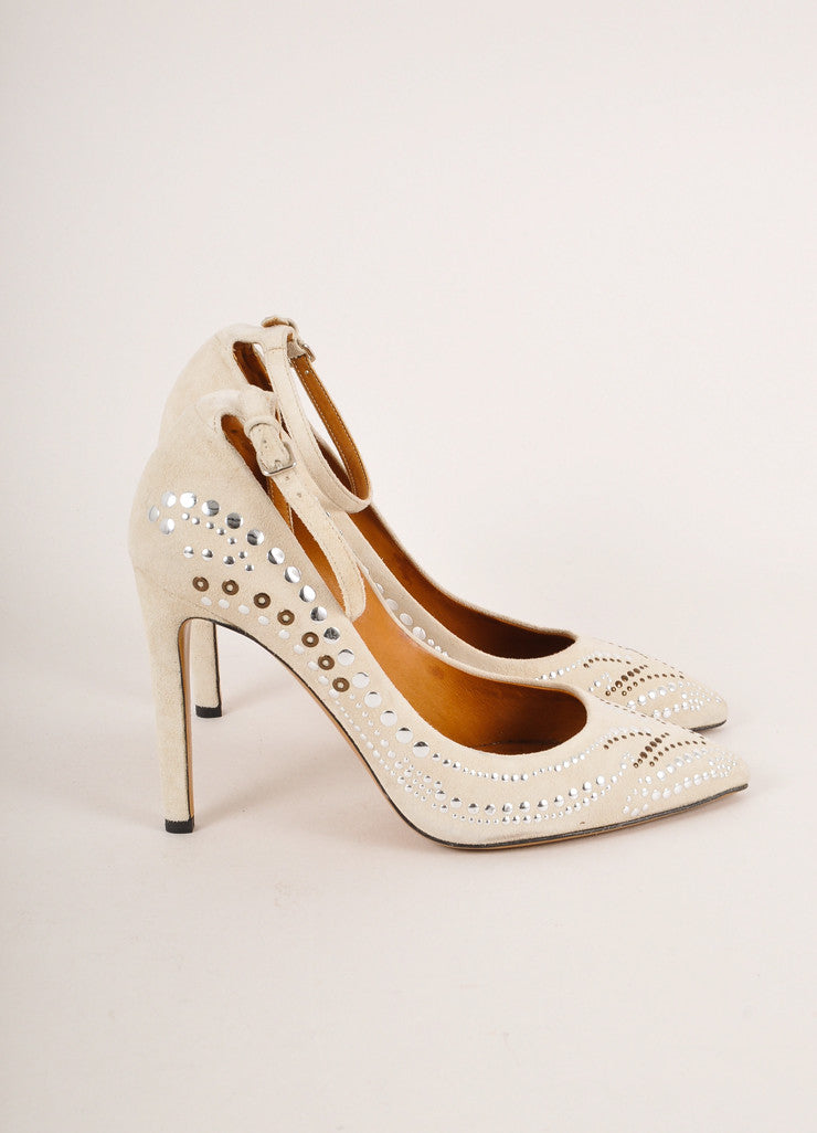 Isabel Marant Off-White Stud Embellished Suede Leather Ankle Strap Pumps Sideview