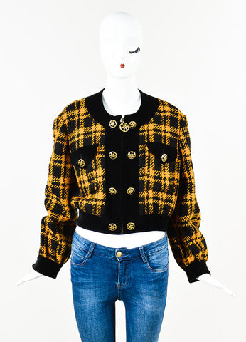Moschino Cheap and Chic Marigold Black Wool Velvet Trim Tweed Jacket Front