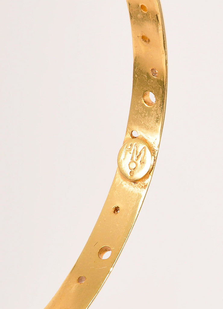"Paula Mendoza New With Tags Gold Toned Perforated ""Isabella"" Bangle Bracelet Brand"