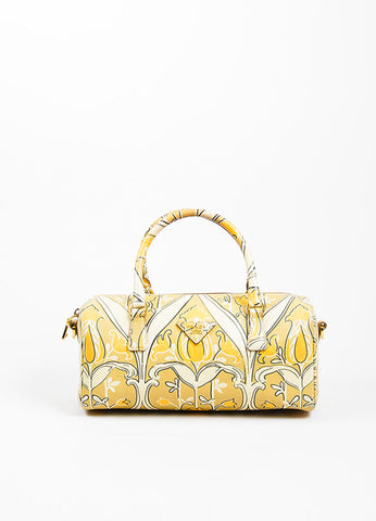 "Beige, Taupe, and Orange Prada Saffiano Leather Floral Print ""Bauletto"" Crossbody Bag Frontview"