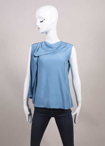 "Roksanda Ilincic New Powdered Blue Asymmetric Panel Sleeveless ""Kenyon"" Top Frontview"
