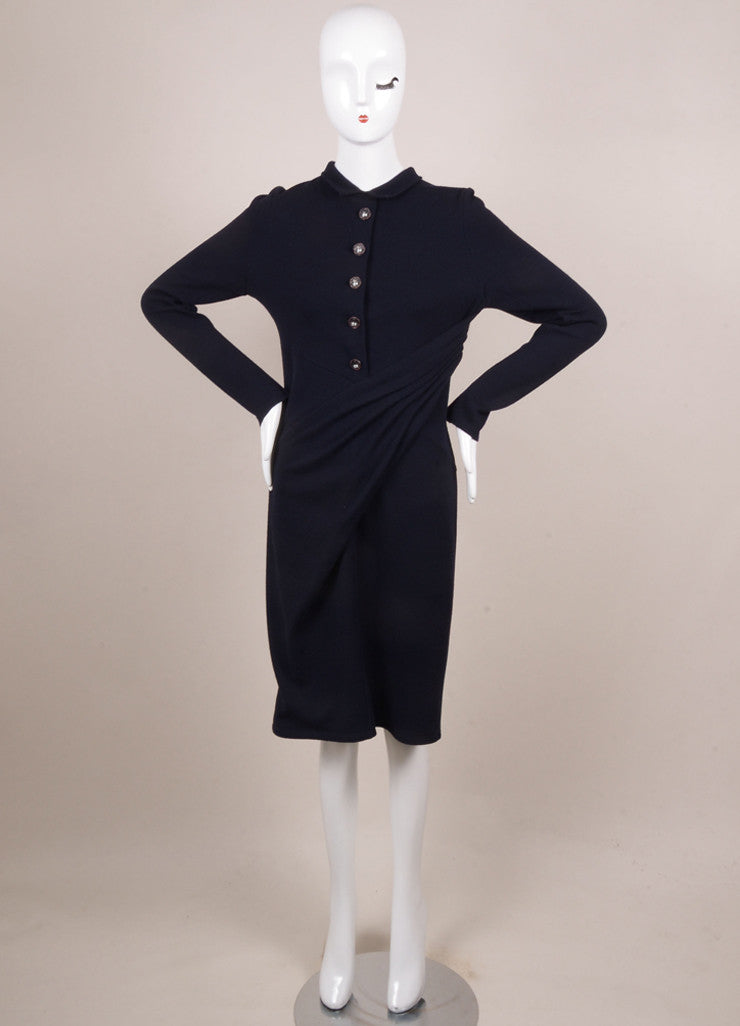 Chanel Navy Wool Blend Long Sleeve Elephant Button Draped Dress Frontview
