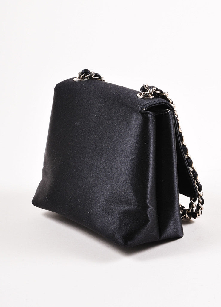 Chanel Black Satin Camellia Chain Strap Mini Bag Sideview