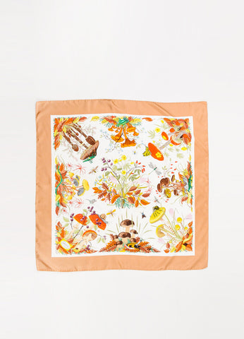 Gucci Tan, Cream, and Multicolor Floral Foliage Print Silk Square Scarf Frontview 2