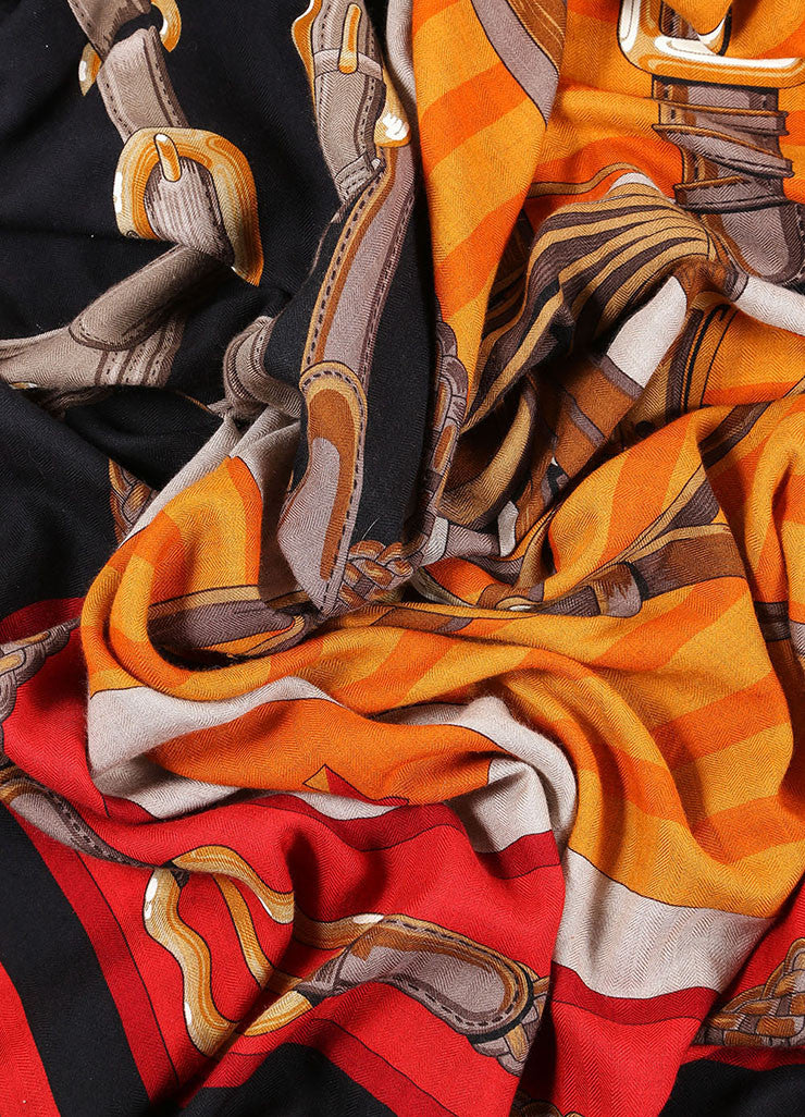 "Hermes Black, Red, and Orange Cashmere and Silk Harness Print ""Coaching"" Scarf Detail"