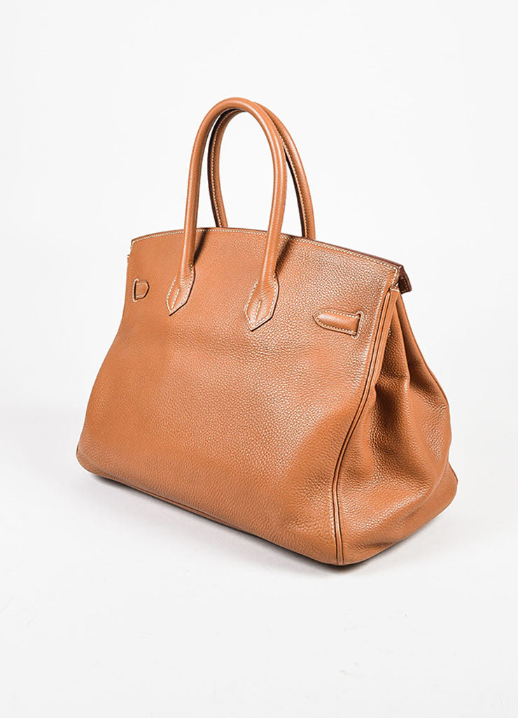 "Hermes ""Gold"" Brown Clemence Leather Top Handle ""Birkin 35"" Tote Bag Sideview"