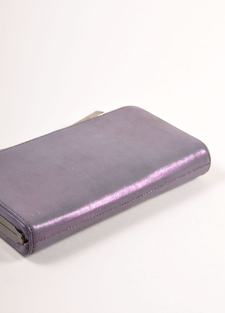 "Overture Judith Leiber Purple Metallic Bow Clasp ""Carrie"" Clutch Bag Bottom View"