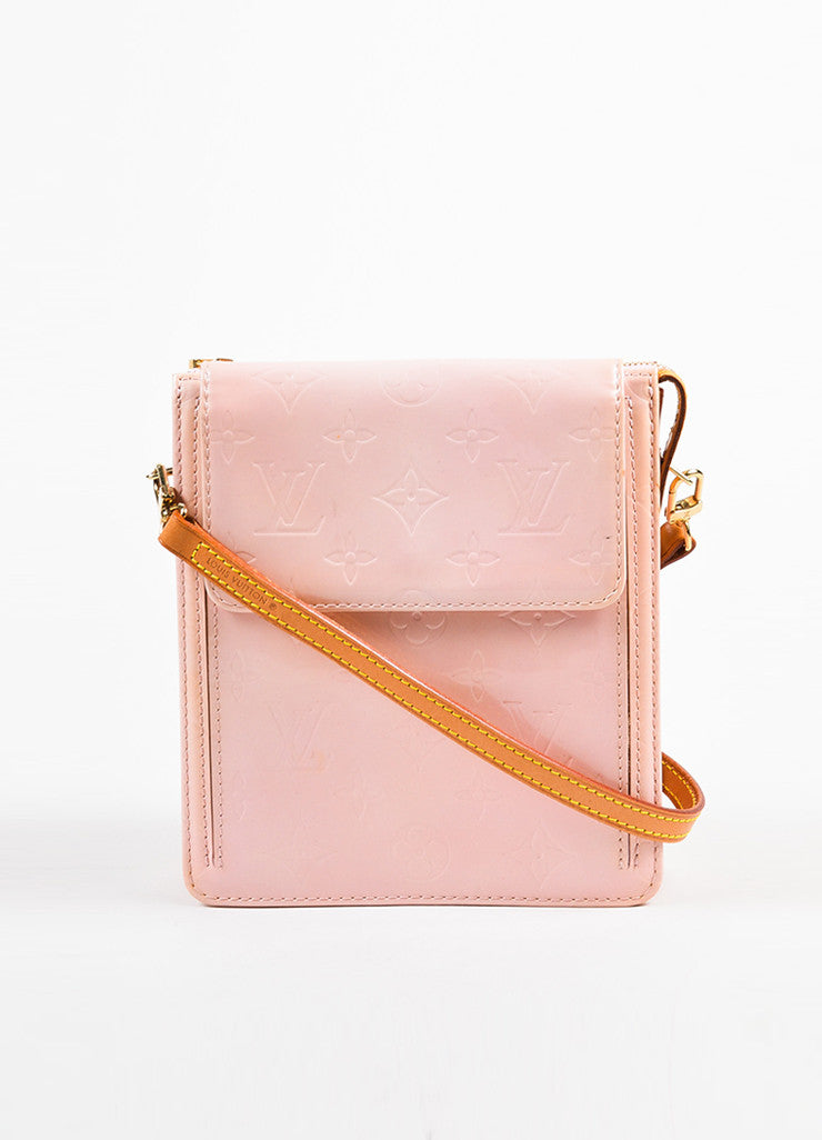 "Louis Vuitton Baby Pink Vernis Leather Embossed ""Mott"" Crossbody Bag"