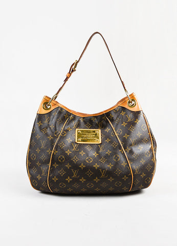 "Louis Vuitton Brown and Tan Coated Monogram Canvas GHW ""Galliera PM"" Shoulder Bag Frontview"