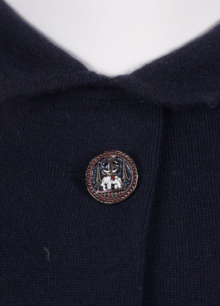 Chanel Navy Wool Blend Long Sleeve Elephant Button Draped Dress Detail