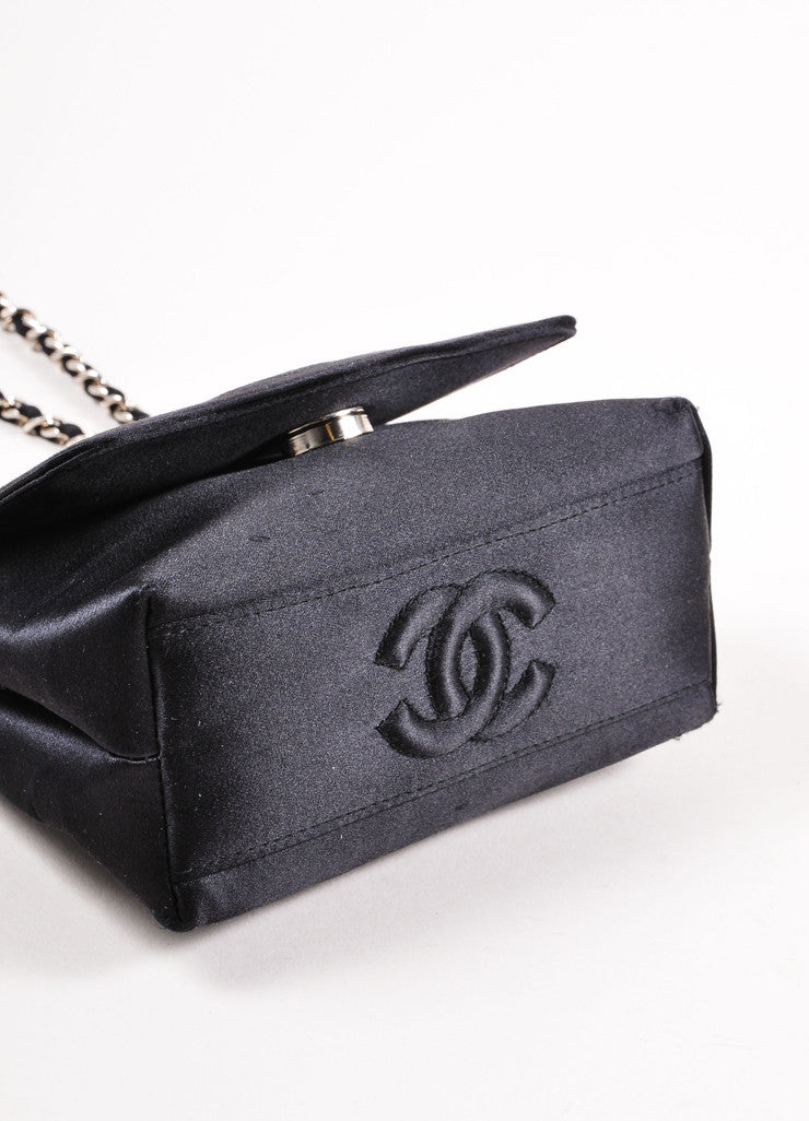 Chanel Black Satin Camellia Chain Strap Mini Bag Bottom View