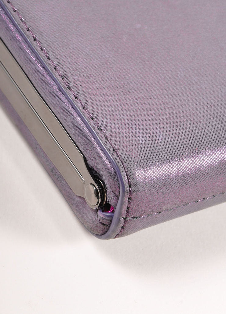 "Overture Judith Leiber Purple Metallic Bow Clasp ""Carrie"" Clutch Bag Detail"