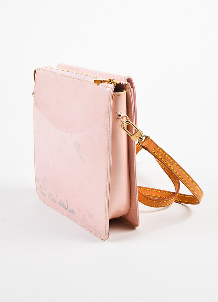 "Louis Vuitton Baby Pink Vernis Leather Embossed ""Mott"" Crossbody Bag Sideview"