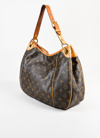 "Louis Vuitton Brown and Tan Coated Monogram Canvas GHW ""Galliera PM"" Shoulder Bag Sideview"
