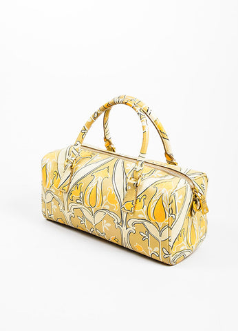 "Beige, Taupe, and Orange Prada Saffiano Leather Floral Print ""Bauletto"" Crossbody Bag Sideview"