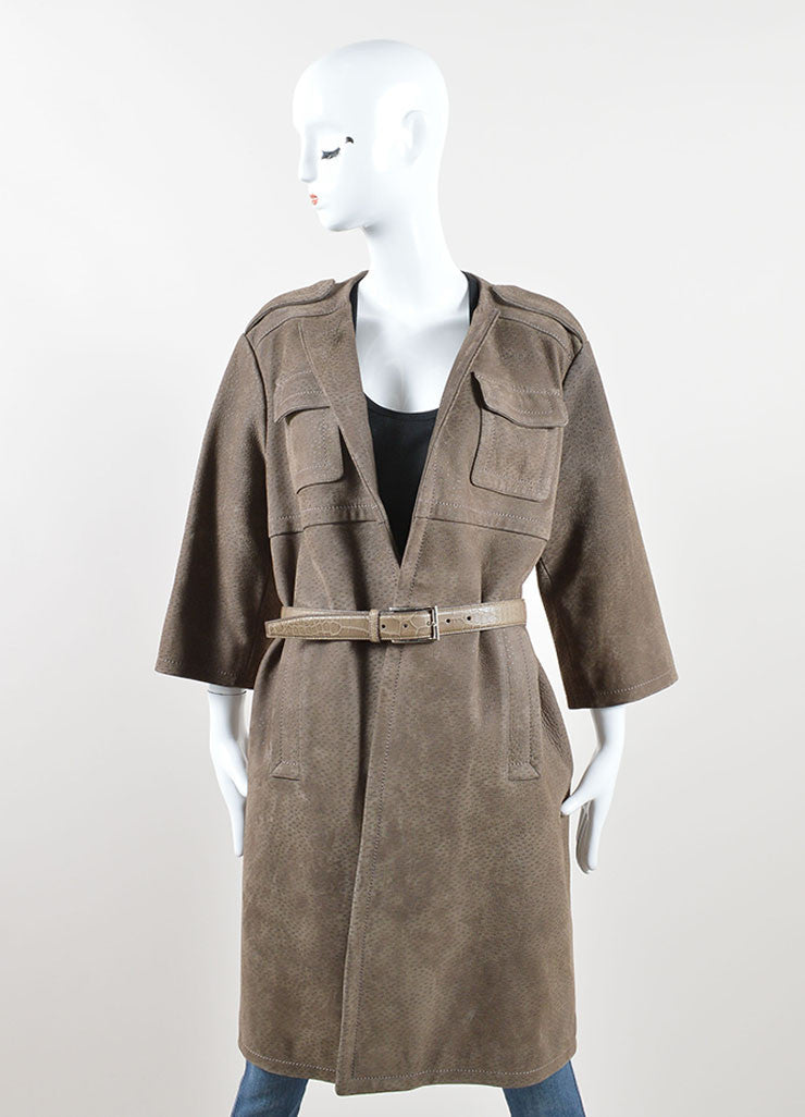 Prada Taupe Textured Suede Alligator Leather Belted Cropped Sleeve Coat Frontview