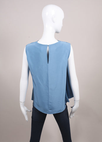 "Roksanda Ilincic New Powdered Blue Asymmetric Panel Sleeveless ""Kenyon"" Top Backview"
