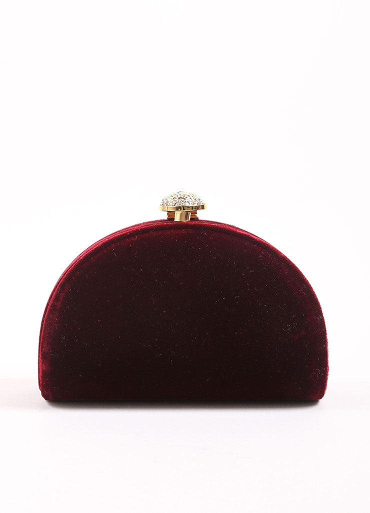 Carla Marchi Red Velvet and Rhinestone Clutch Front