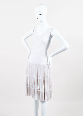 Alaia White Tan Trim Accordion Pleated Knit Sleeveless Dress Sideview