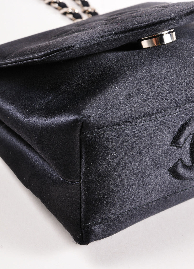 Chanel Black Satin Camellia Chain Strap Mini Bag Detail