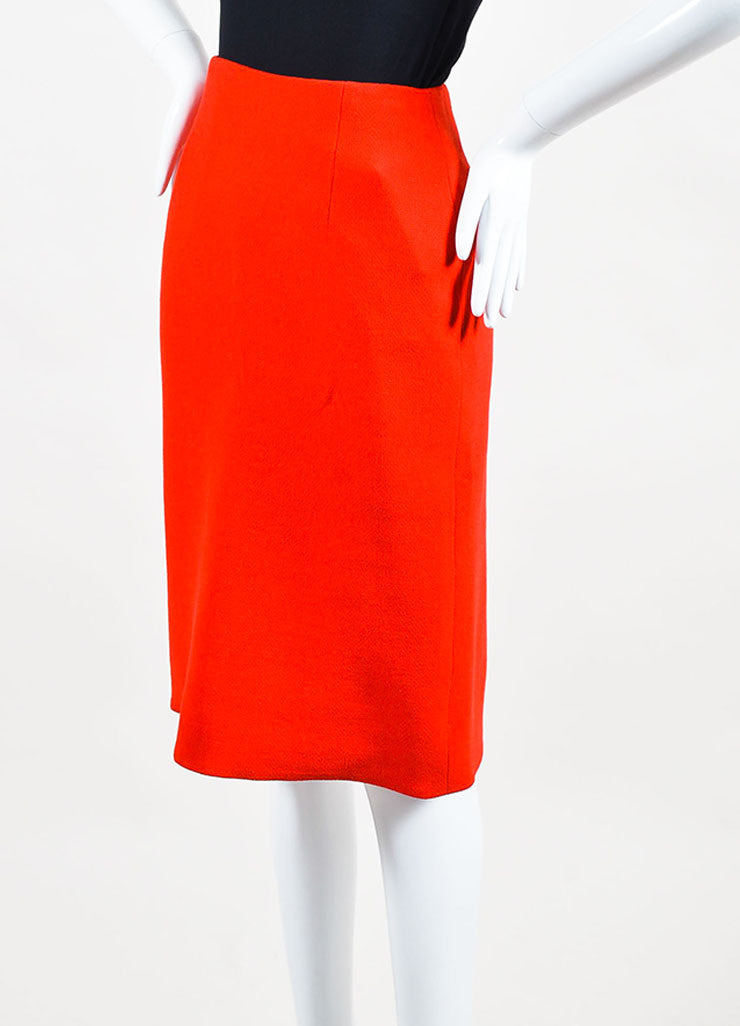 Red Christian Dior Crepe Wool Scalloped Slit Flare Pencil Skirt Front