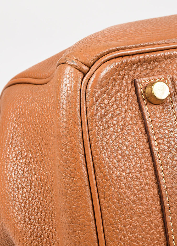 "Hermes ""Gold"" Brown Clemence Leather Top Handle ""Birkin 35"" Tote Bag Detail"