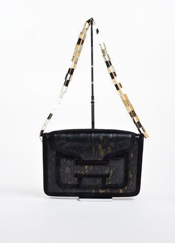 Black and Brown Pierre Hardy Leather Gold Tone Chain Strap Flap Top Shoulder Bag Frontview