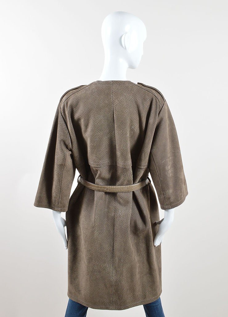 Prada Taupe Textured Suede Alligator Leather Belted Cropped Sleeve Coat Backview