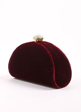 Carla Marchi Red Velvet and Rhinestone Clutch Side