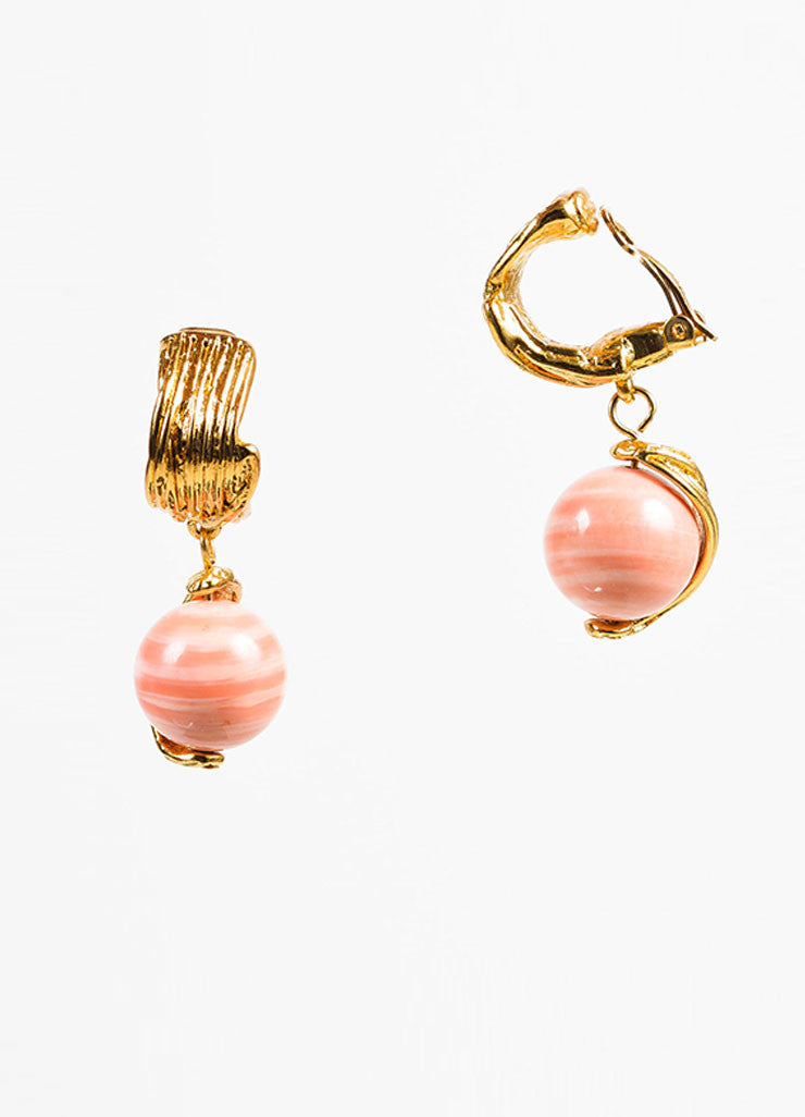 Yves Saint Laurent Gold Toned and Coral Ceramic Bead Drop Clip On Earrings Sideview