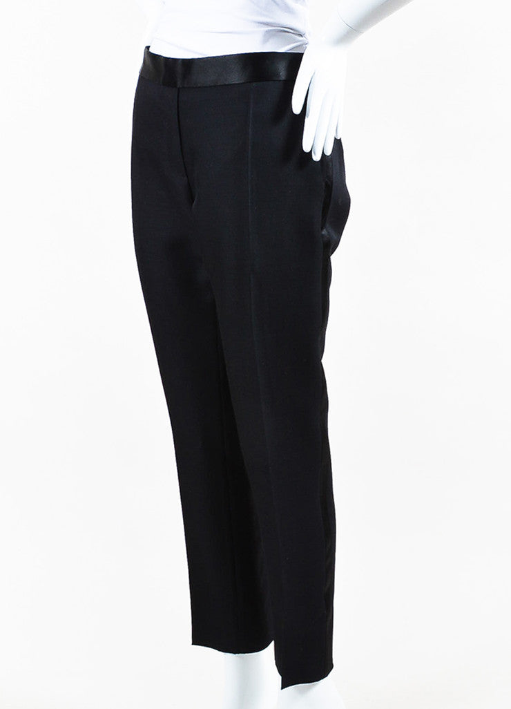 Black Victoria Beckham Wool Satin Trim Skinny Crop Tuxedo Pants Front