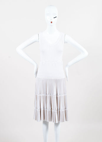Alaia White Tan Trim Accordion Pleated Knit Sleeveless Dress Frontview