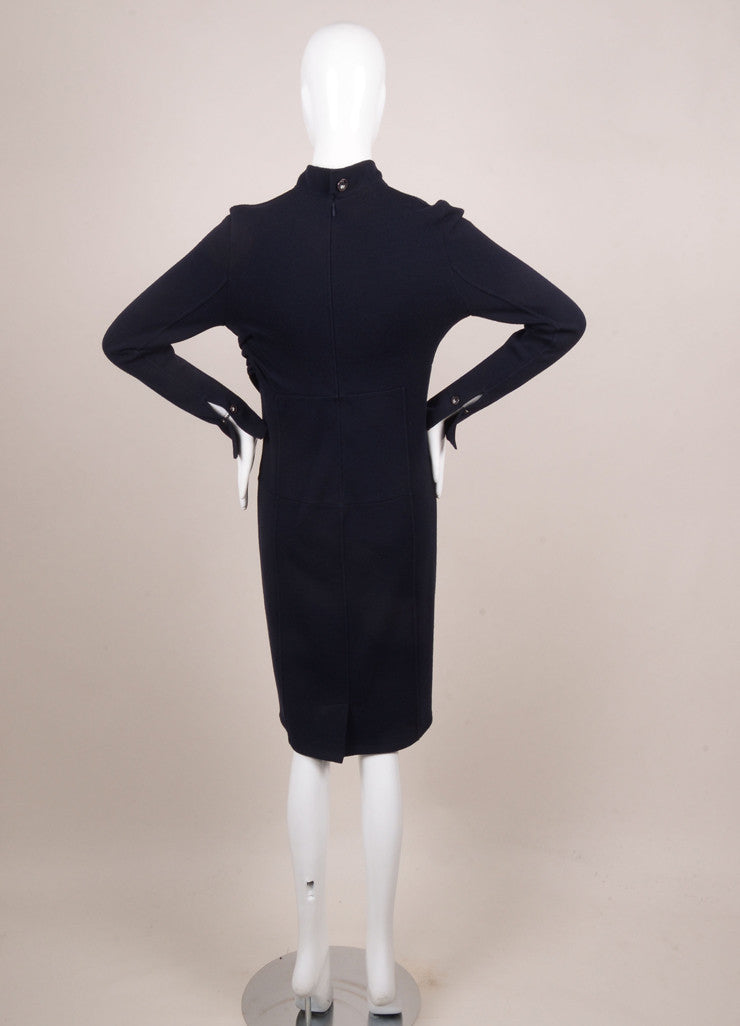 Chanel Navy Wool Blend Long Sleeve Elephant Button Draped Dress Backview