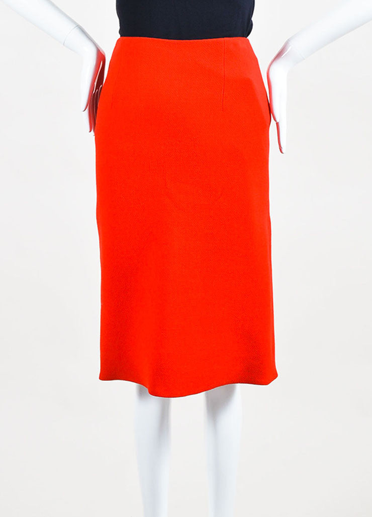 Red Christian Dior Crepe Wool Scalloped Slit Flare Pencil Skirt Front 2