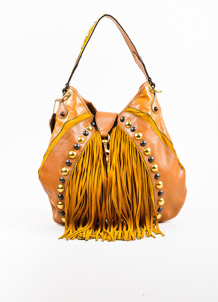 "Gucci Brown Tan Leather Fringe Studded Large ""Babouska"" Hobo Bag Front"