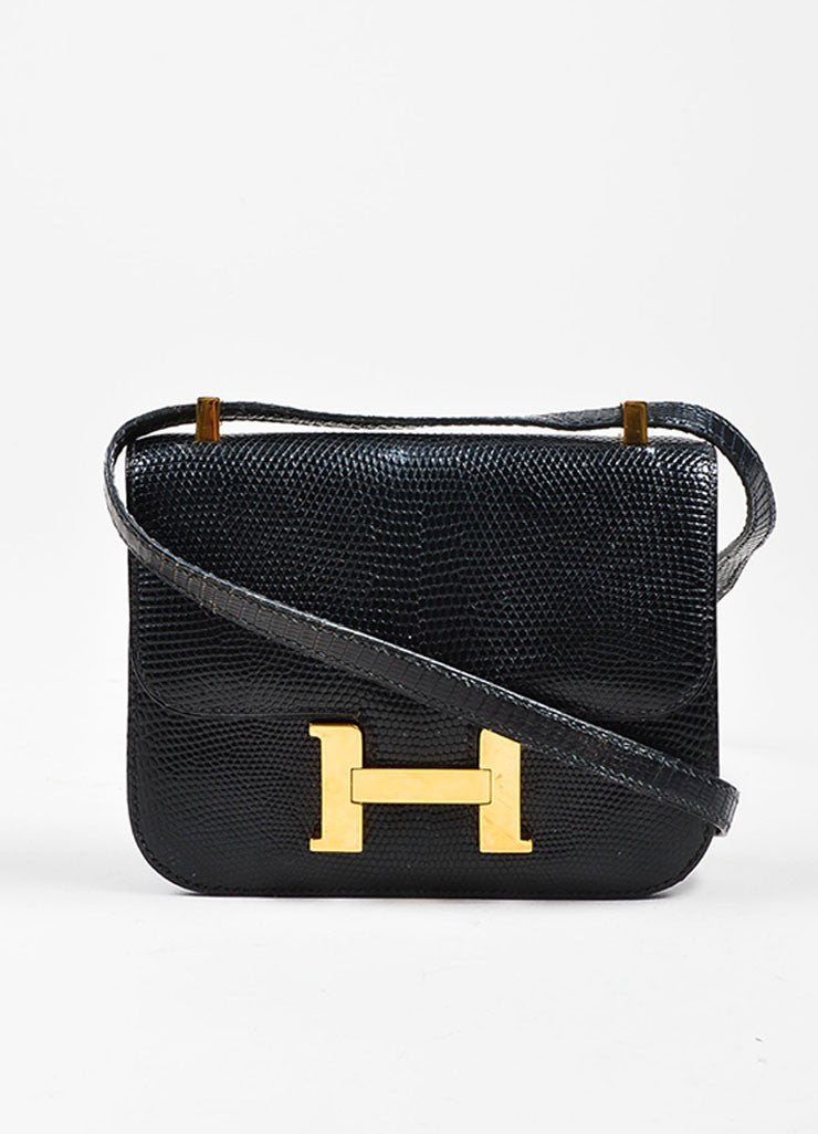 "Black and Gold Toned Hermes ""Micro Constance"" 'H' Logo Lizard Leather Crossbody Bag Frontview"