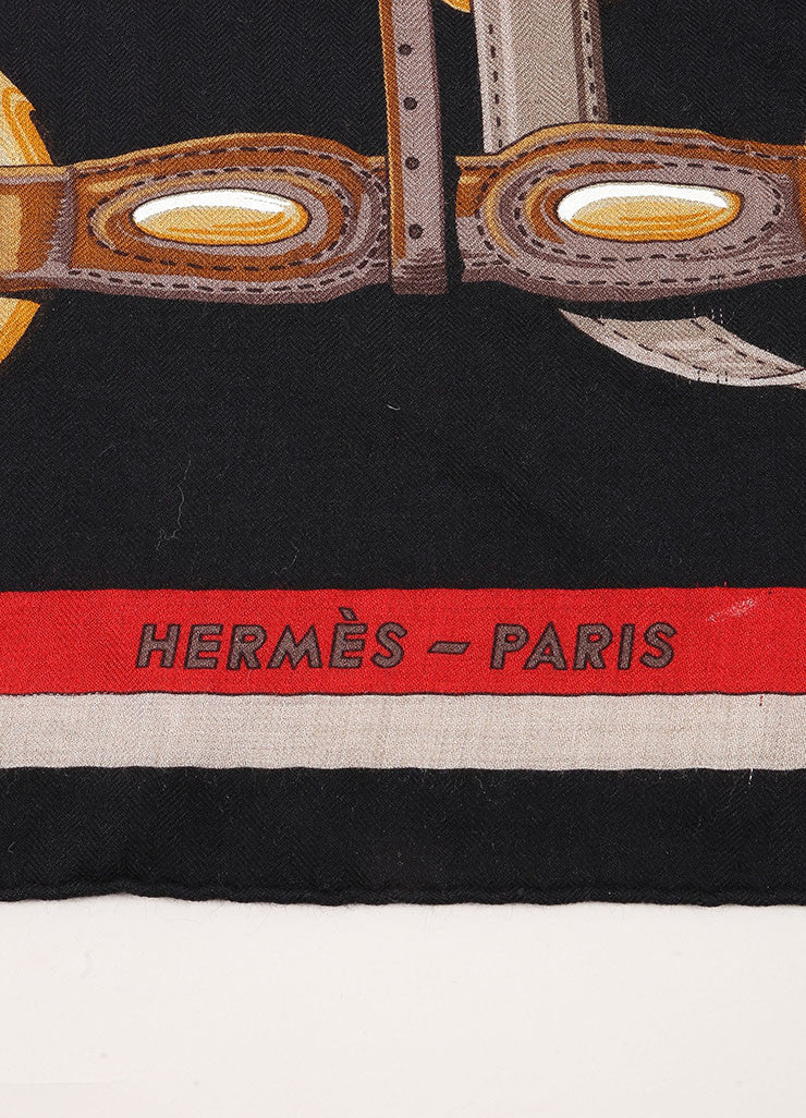 "Hermes Black, Red, and Orange Cashmere and Silk Harness Print ""Coaching"" Scarf Brand"