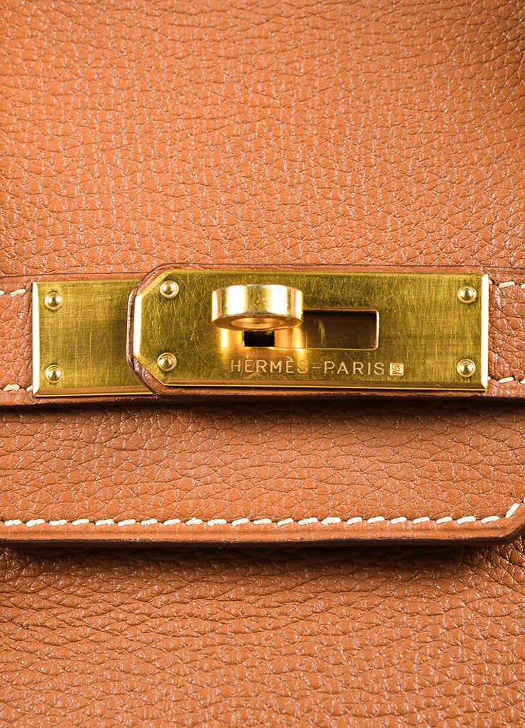 "Hermes ""Gold"" Brown Clemence Leather Top Handle ""Birkin 35"" Tote Bag Detail 2"