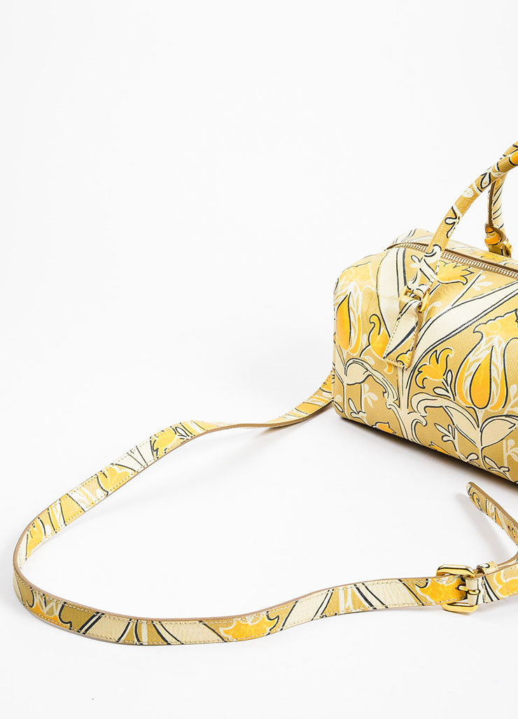 "Beige, Taupe, and Orange Prada Saffiano Leather Floral Print ""Bauletto"" Crossbody Bag Detail 3"