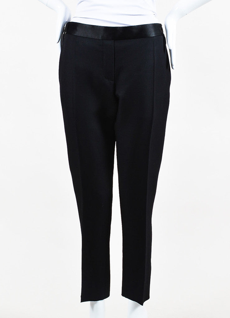 Black Victoria Beckham Wool Satin Trim Skinny Crop Tuxedo Pants Front 2